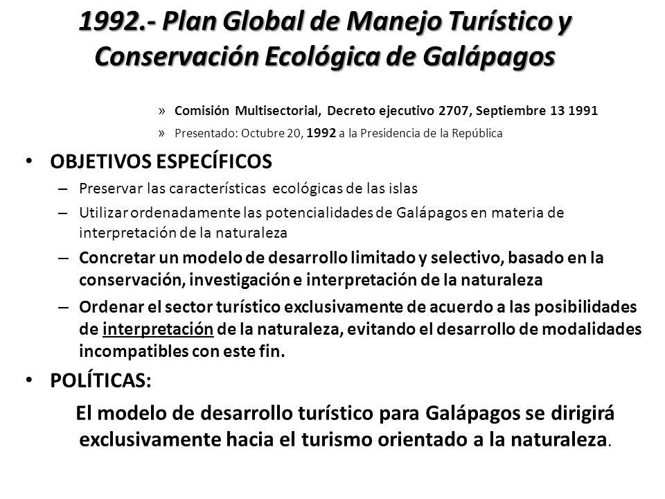 1992.- Plan Global de Manejo Turístico y Conservación Ecológica de Galápagos