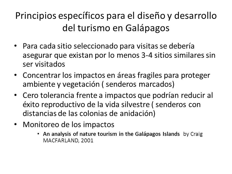Principios específicos para el diseño y desarrollo del turismo en Galápagos