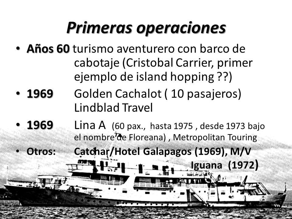 Primeras operaciones Años 60 turismo aventurero con barco de cabotaje (Cristobal Carrier, primer ejemplo de island hopping )