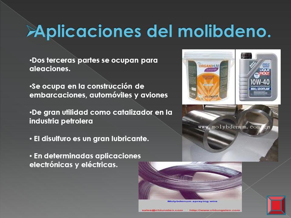 Aplicaciones del molibdeno.