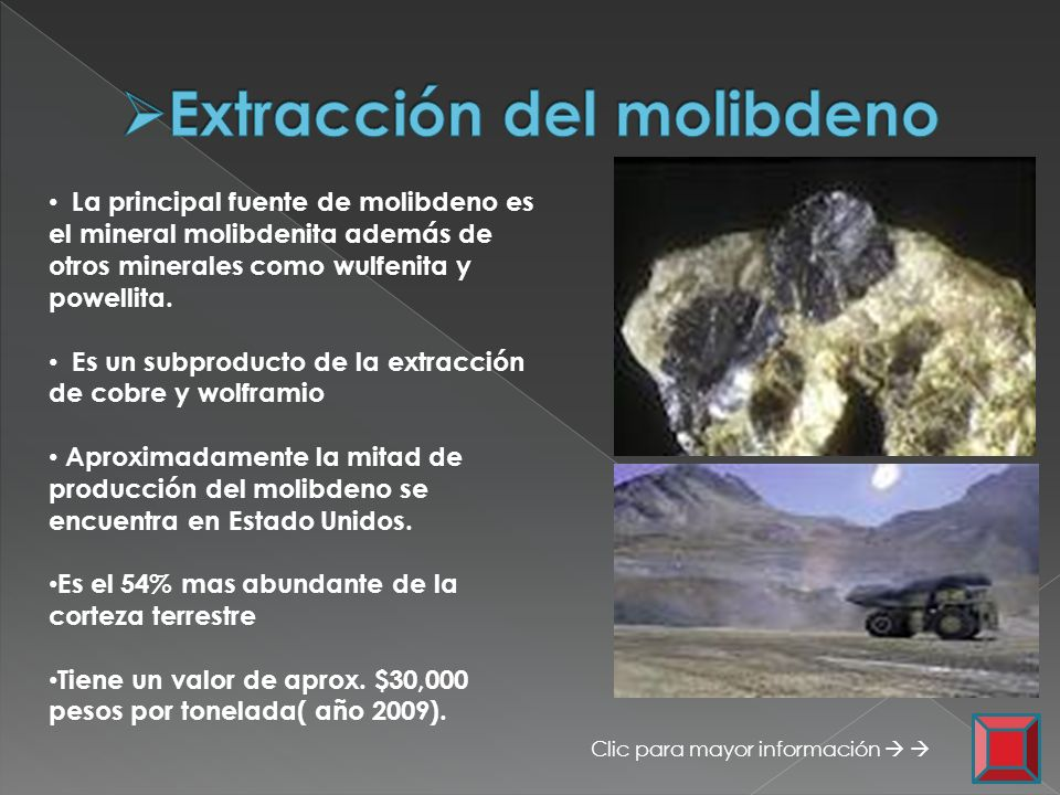 Extracción del molibdeno