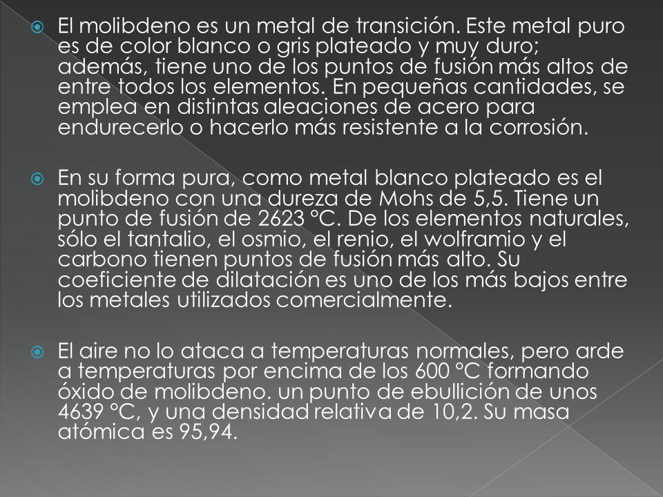 El molibdeno es un metal de transición