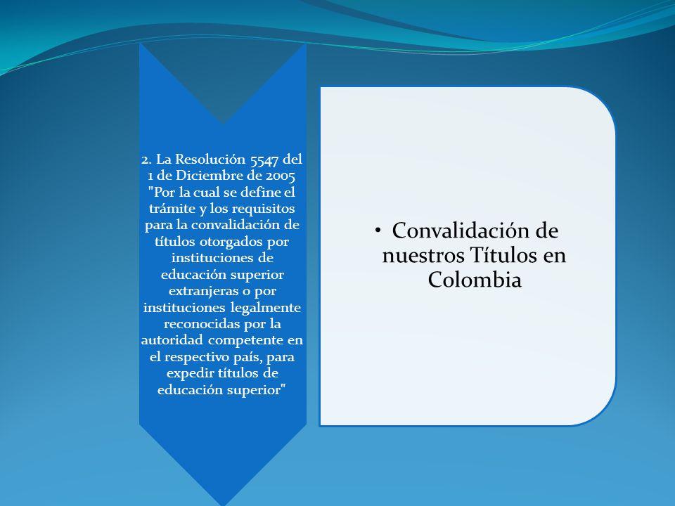Convalidación de nuestros Títulos en Colombia