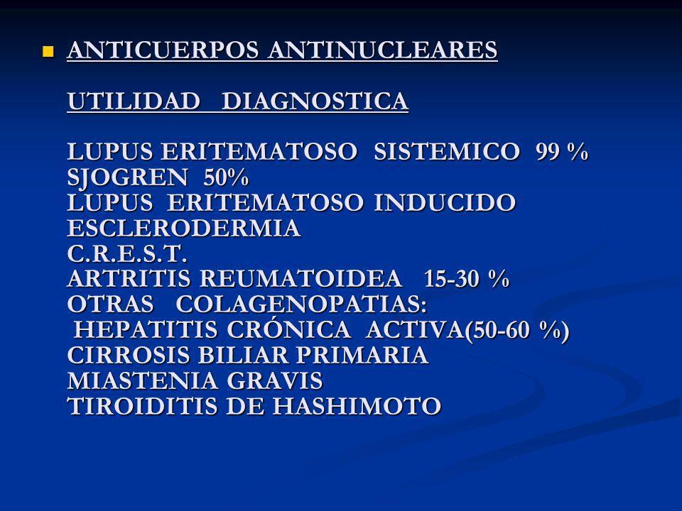 ANTICUERPOS ANTINUCLEARES UTILIDAD DIAGNOSTICA LUPUS ERITEMATOSO SISTEMICO 99 % SJOGREN 50% LUPUS ERITEMATOSO INDUCIDO ESCLERODERMIA C.R.E.S.T.