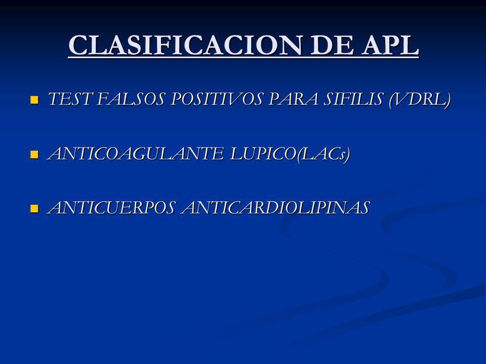 CLASIFICACION DE APL TEST FALSOS POSITIVOS PARA SIFILIS (VDRL)