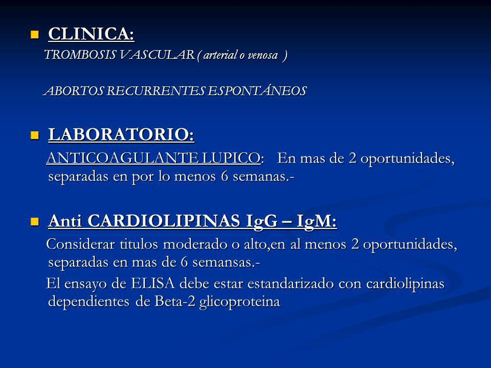 Anti CARDIOLIPINAS IgG – IgM: