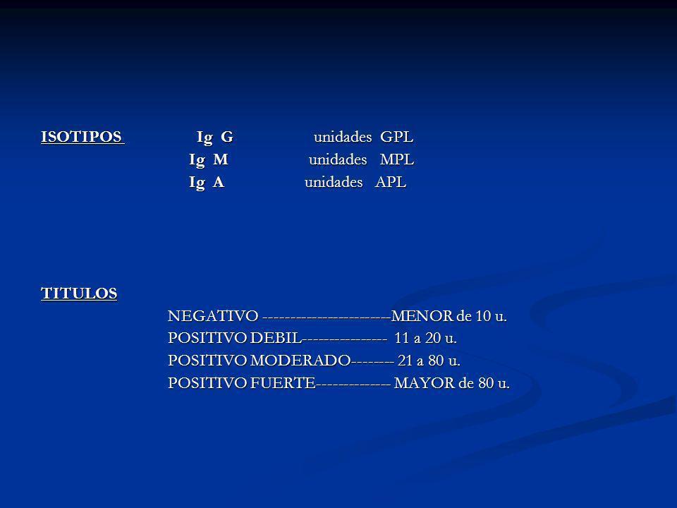 ISOTIPOS Ig G unidades GPL