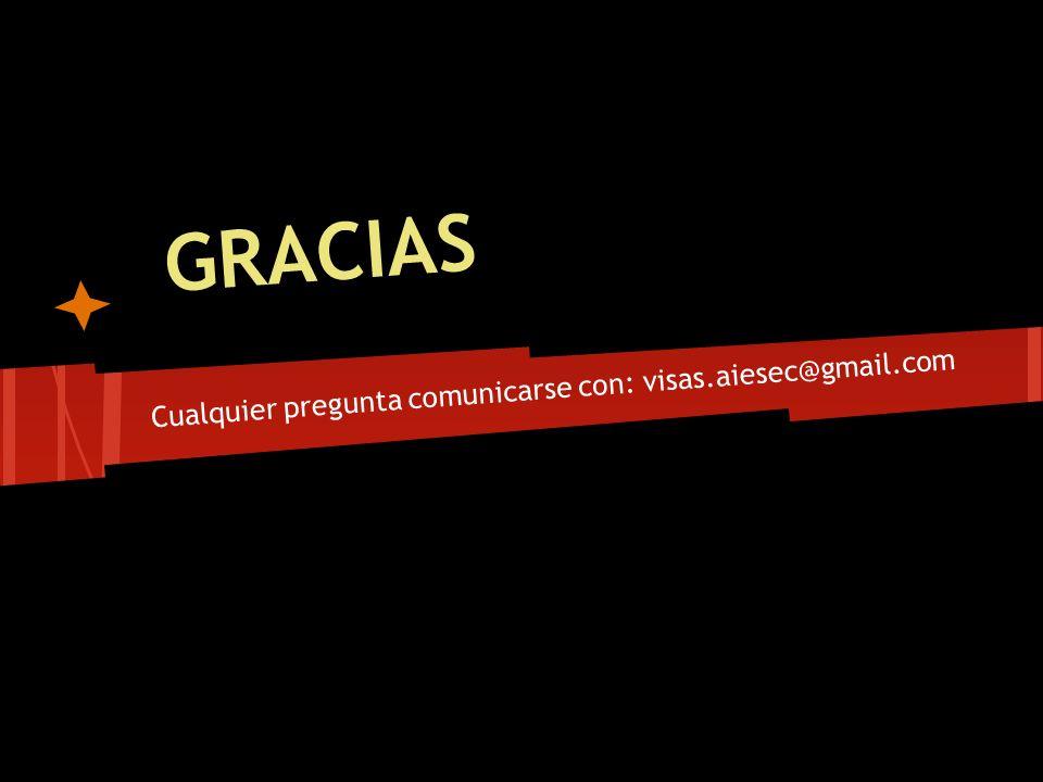 Cualquier pregunta comunicarse con: visas.aiesec@gmail.com
