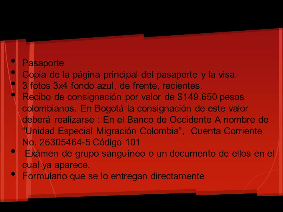 PasaporteCopia de la página principal del pasaporte y la visa. 3 fotos 3x4 fondo azul, de frente, recientes.