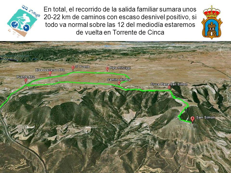 En total, el recorrido de la salida familiar sumara unos 20-22 km de caminos con escaso desnivel positivo, si todo va normal sobre las 12 del mediodía estaremos de vuelta en Torrente de Cinca