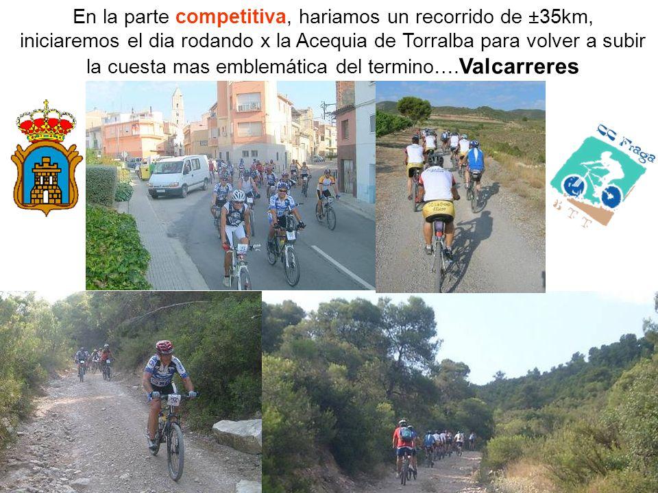 En la parte competitiva, hariamos un recorrido de ±35km, iniciaremos el dia rodando x la Acequia de Torralba para volver a subir la cuesta mas emblemática del termino….Valcarreres