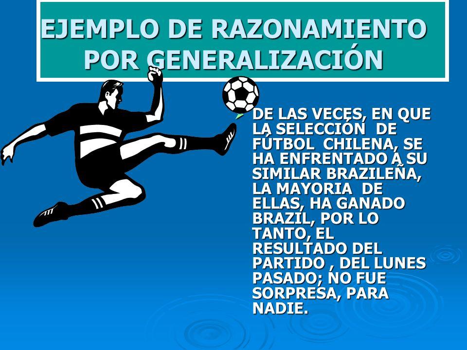 EJEMPLO DE RAZONAMIENTO POR GENERALIZACIÓN