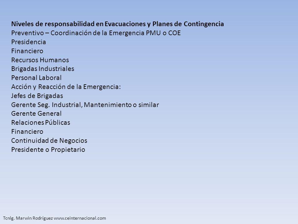 Niveles de responsabilidad en Evacuaciones y Planes de Contingencia