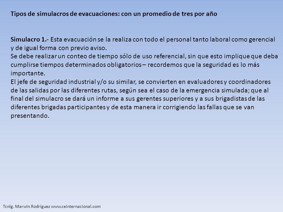 Tipos de simulacros de evacuaciones: con un promedio de tres por año