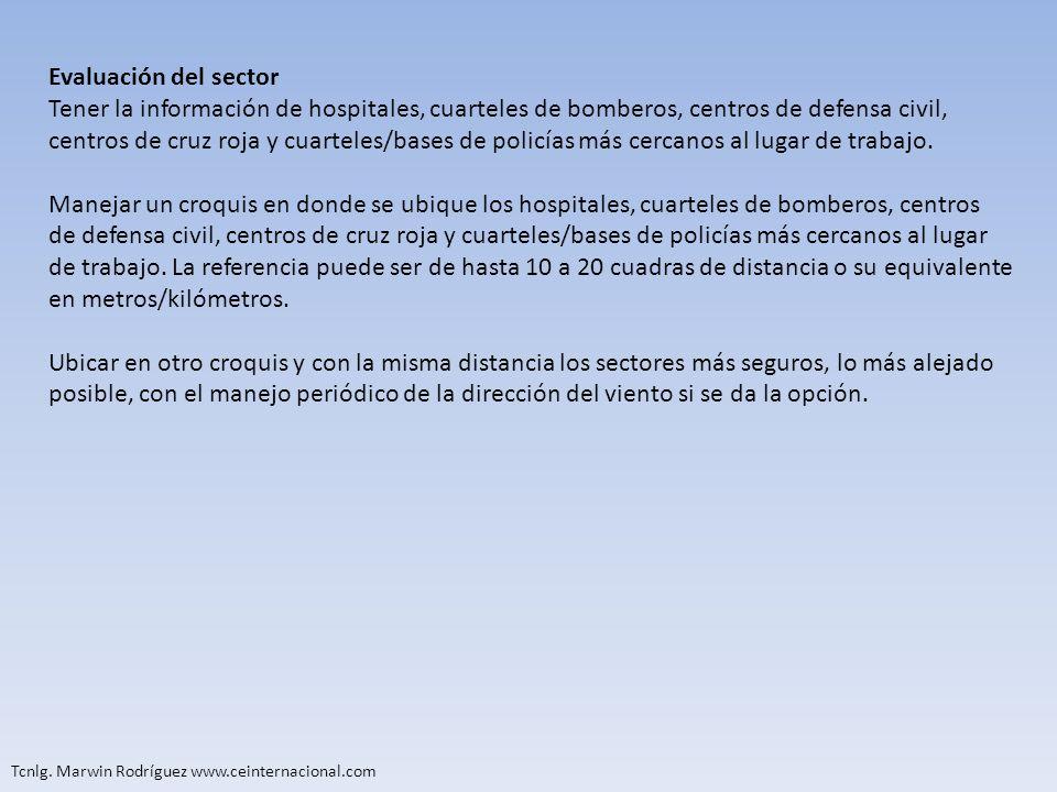 Evaluación del sectorTener la información de hospitales, cuarteles de bomberos, centros de defensa civil,