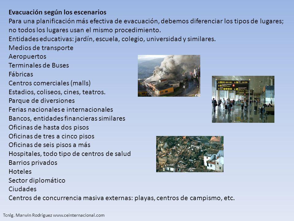 Evacuación según los escenarios