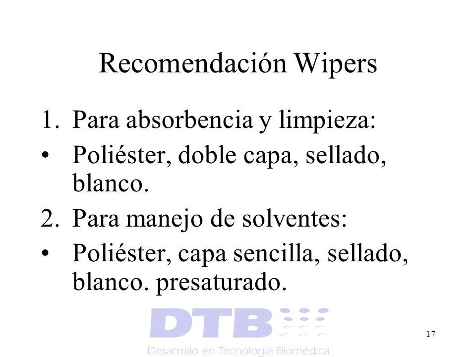 Recomendación Wipers Para absorbencia y limpieza: