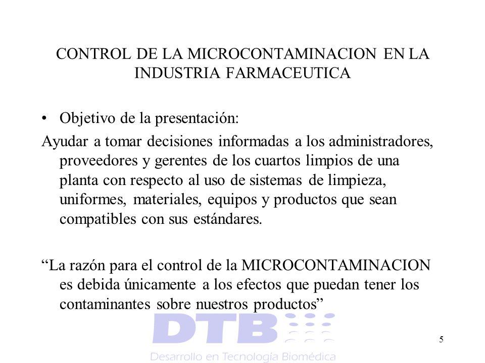 CONTROL DE LA MICROCONTAMINACION EN LA INDUSTRIA FARMACEUTICA
