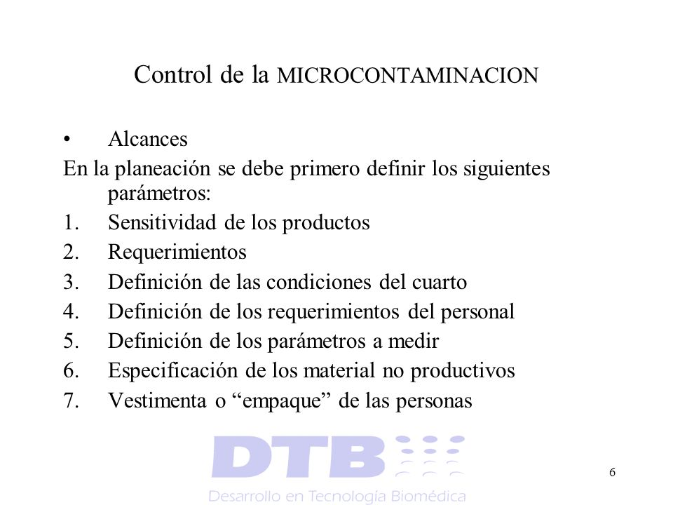 Control de la MICROCONTAMINACION