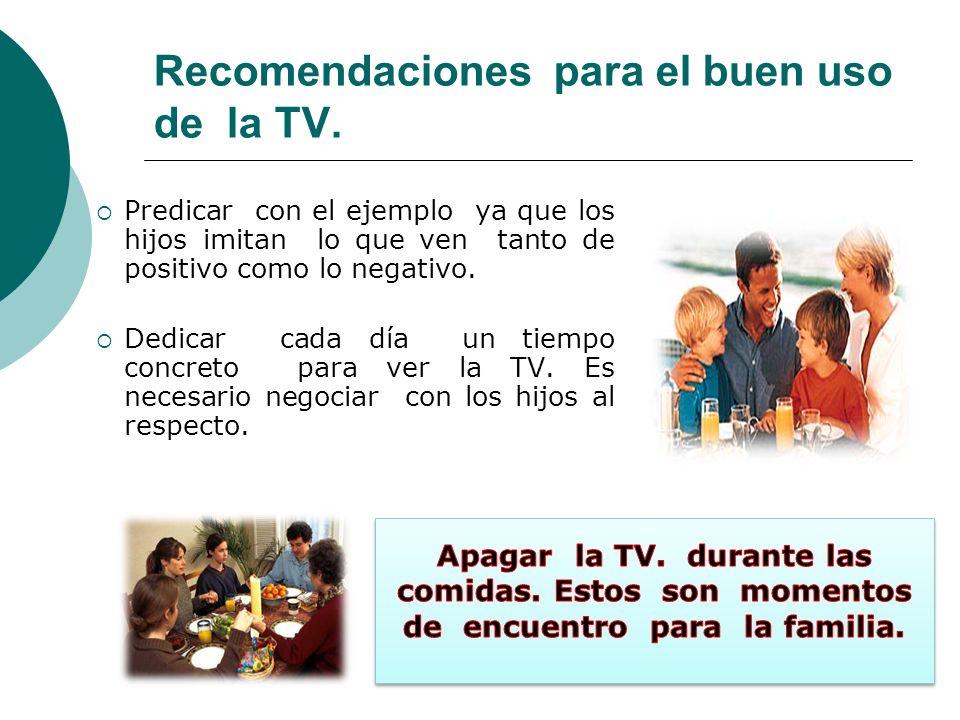 Recomendaciones para el buen uso de la TV.