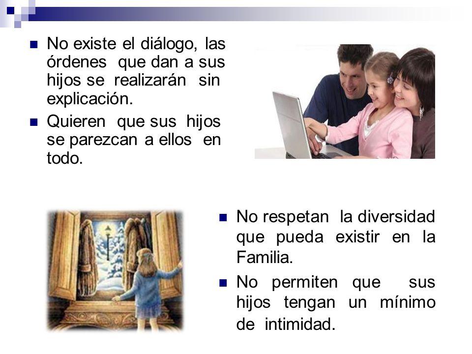No existe el diálogo, las órdenes que dan a sus hijos se realizarán sin explicación.