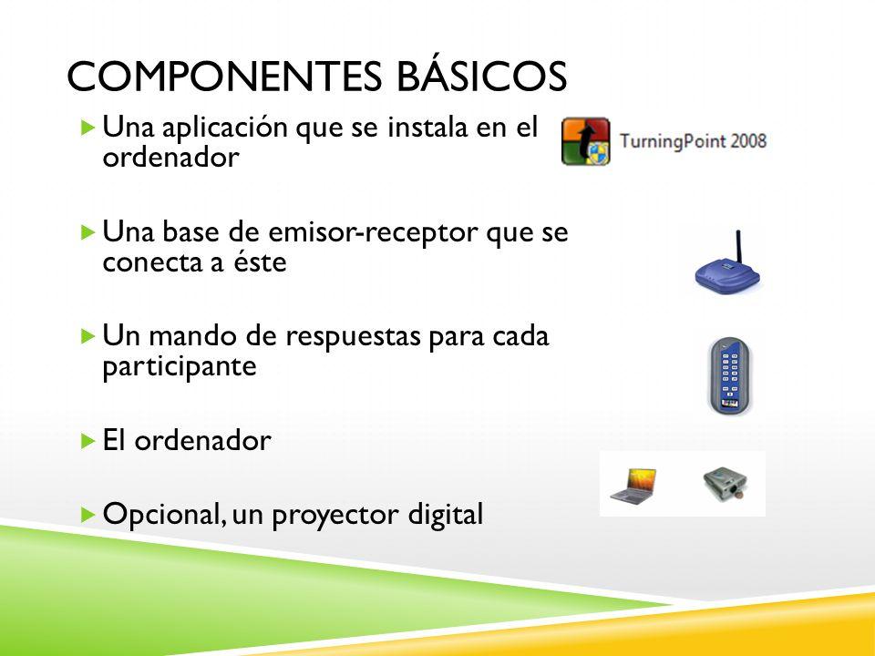 Componentes básicos Una aplicación que se instala en el ordenador