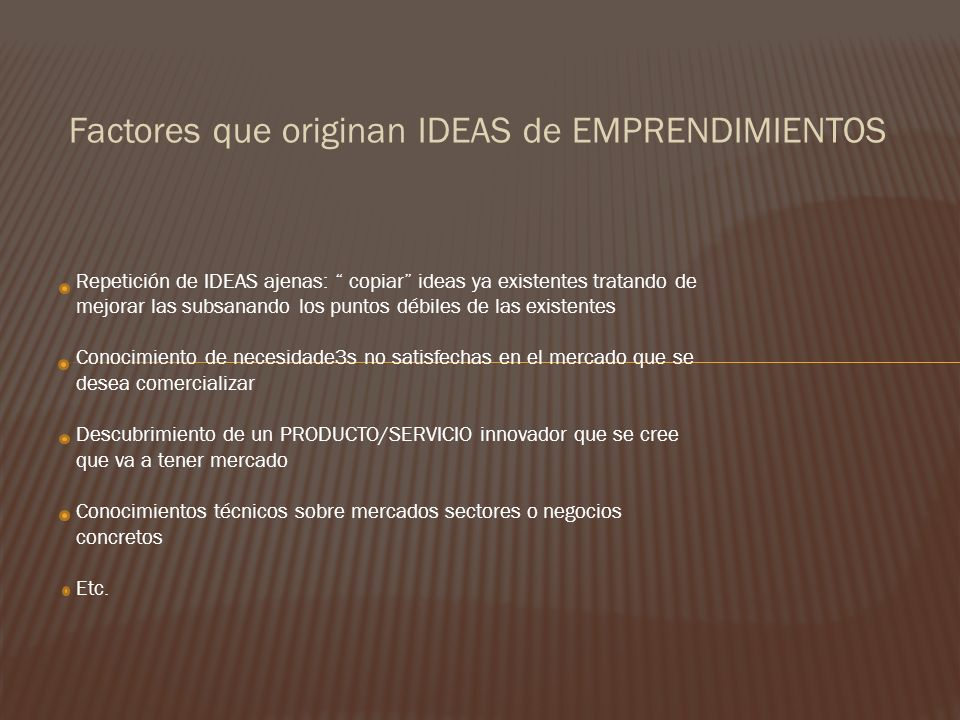 Factores que originan IDEAS de EMPRENDIMIENTOS