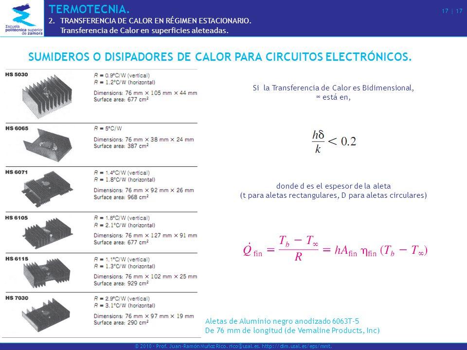 SUMIDEROS O DISIPADORES DE CALOR PARA CIRCUITOS ELECTRÓNICOS.