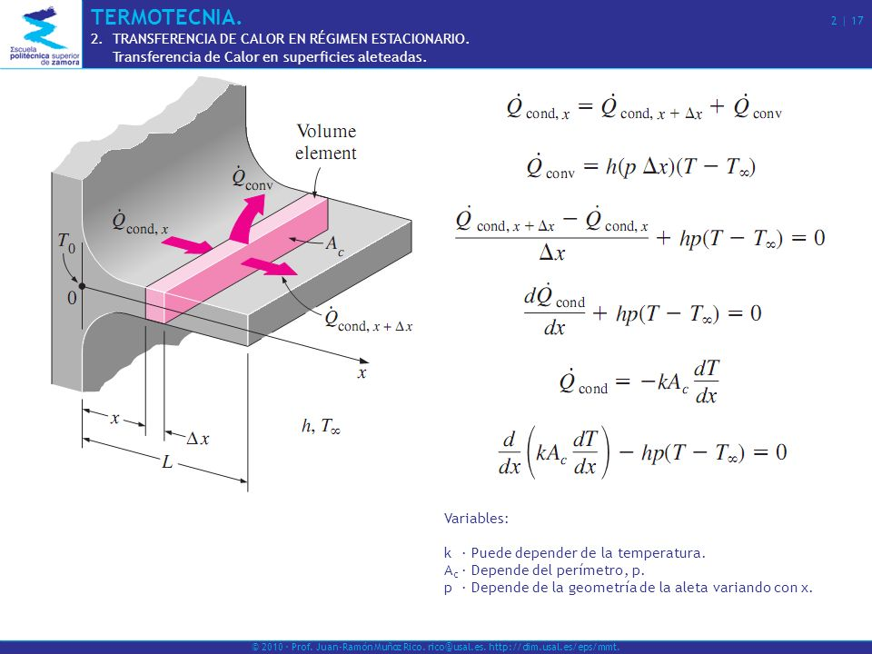 TERMOTECNIA. 2 | 17 TRANSFERENCIA DE CALOR EN RÉGIMEN ESTACIONARIO.