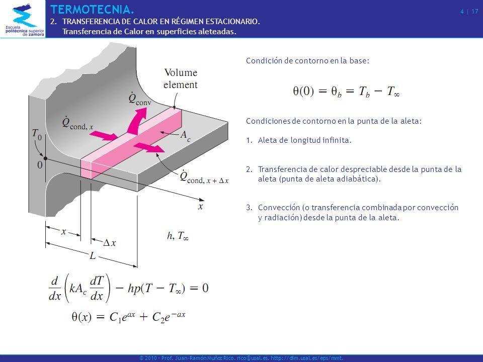 TERMOTECNIA. 4 | 17 TRANSFERENCIA DE CALOR EN RÉGIMEN ESTACIONARIO.