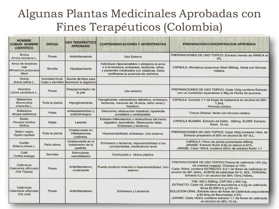 Algunas Plantas Medicinales Aprobadas con Fines Terapéuticos (Colombia)