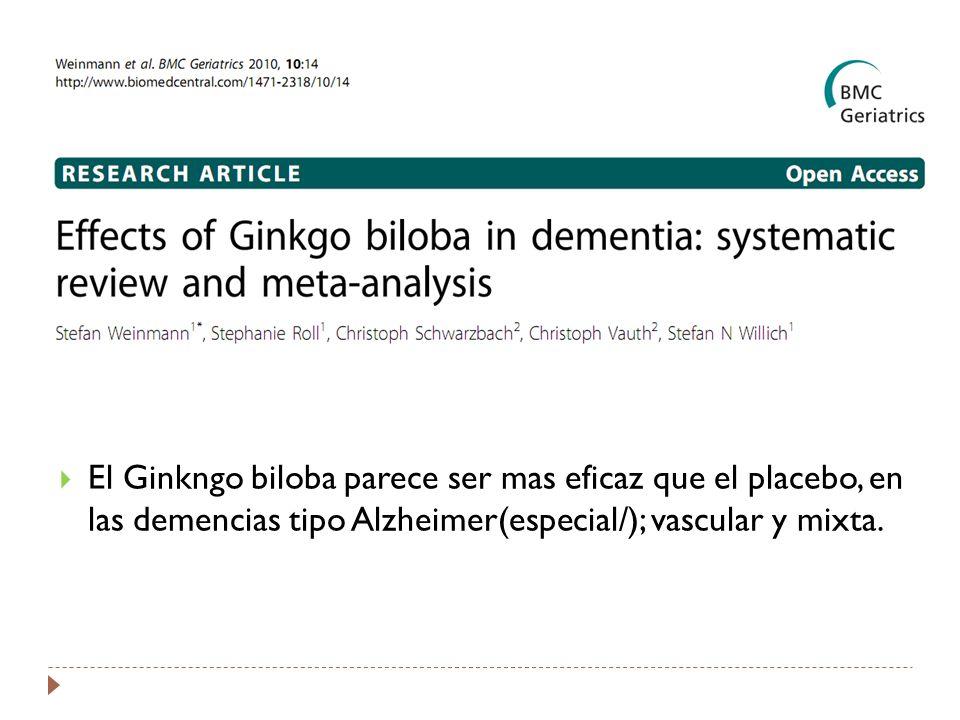 El Ginkngo biloba parece ser mas eficaz que el placebo, en las demencias tipo Alzheimer(especial/); vascular y mixta.