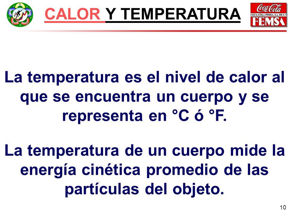 CALOR Y TEMPERATURA La temperatura es el nivel de calor al que se encuentra un cuerpo y se representa en °C ó °F.