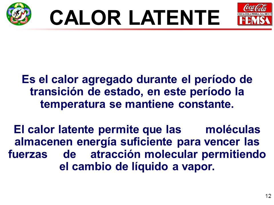 CALOR LATENTE Es el calor agregado durante el período de transición de estado, en este período la temperatura se mantiene constante.