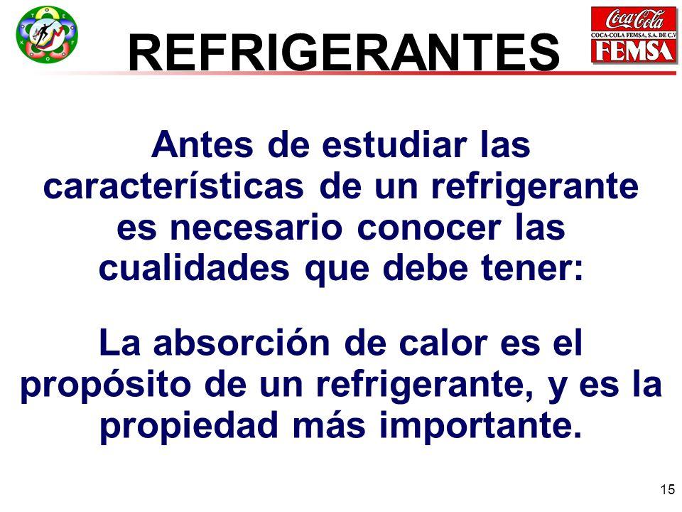 REFRIGERANTES Antes de estudiar las características de un refrigerante es necesario conocer las cualidades que debe tener: