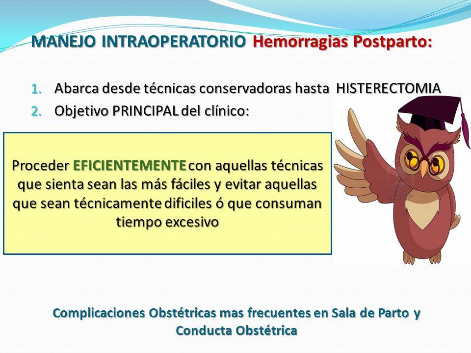 MANEJO INTRAOPERATORIO Hemorragias Postparto: