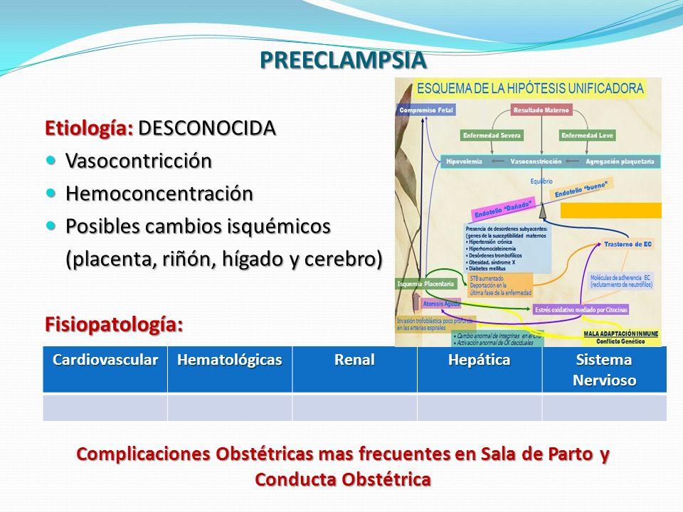 PREECLAMPSIA Etiología: DESCONOCIDA Vasocontricción Hemoconcentración