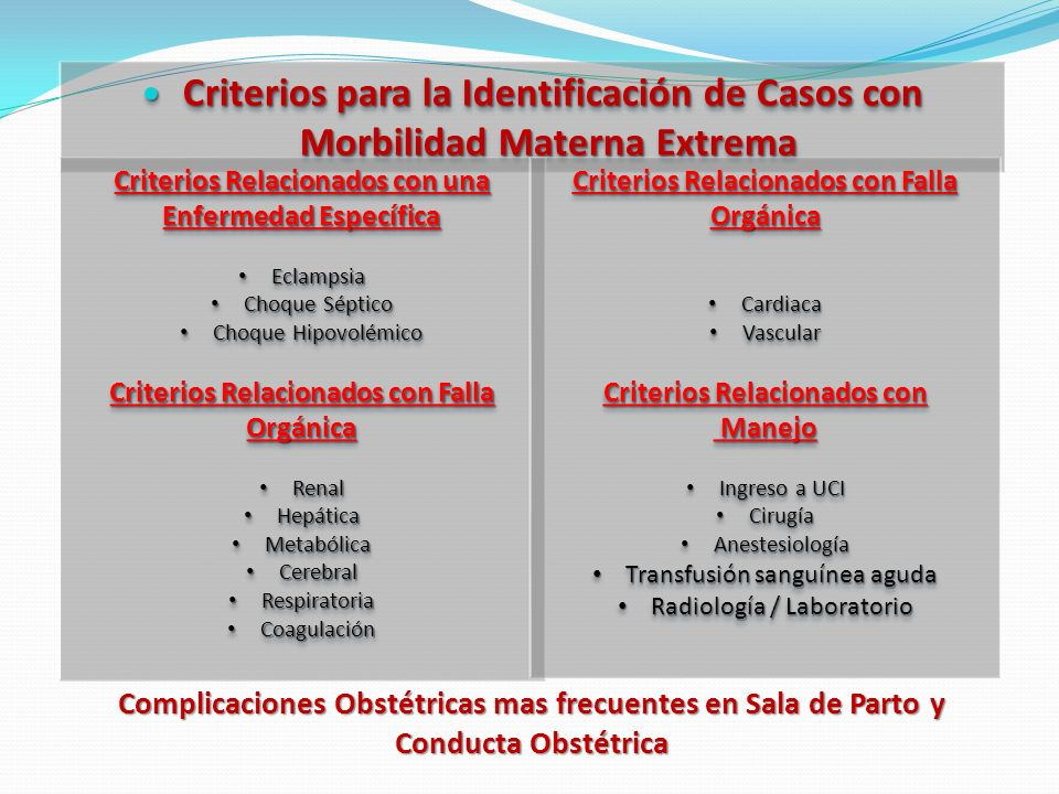 Criterios para la Identificación de Casos con Morbilidad Materna Extrema