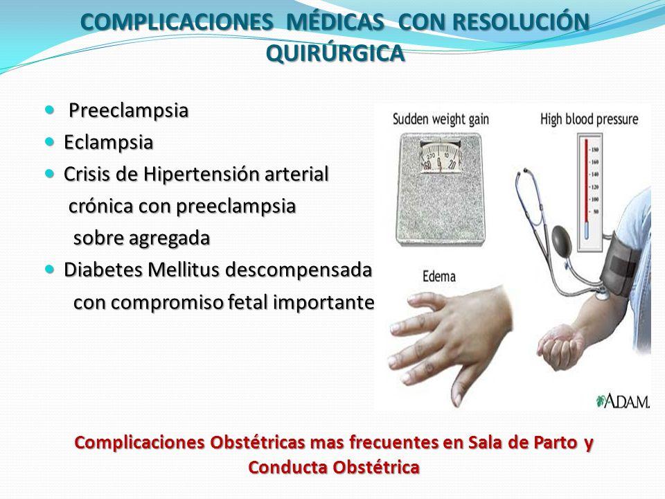 COMPLICACIONES MÉDICAS CON RESOLUCIÓN QUIRÚRGICA