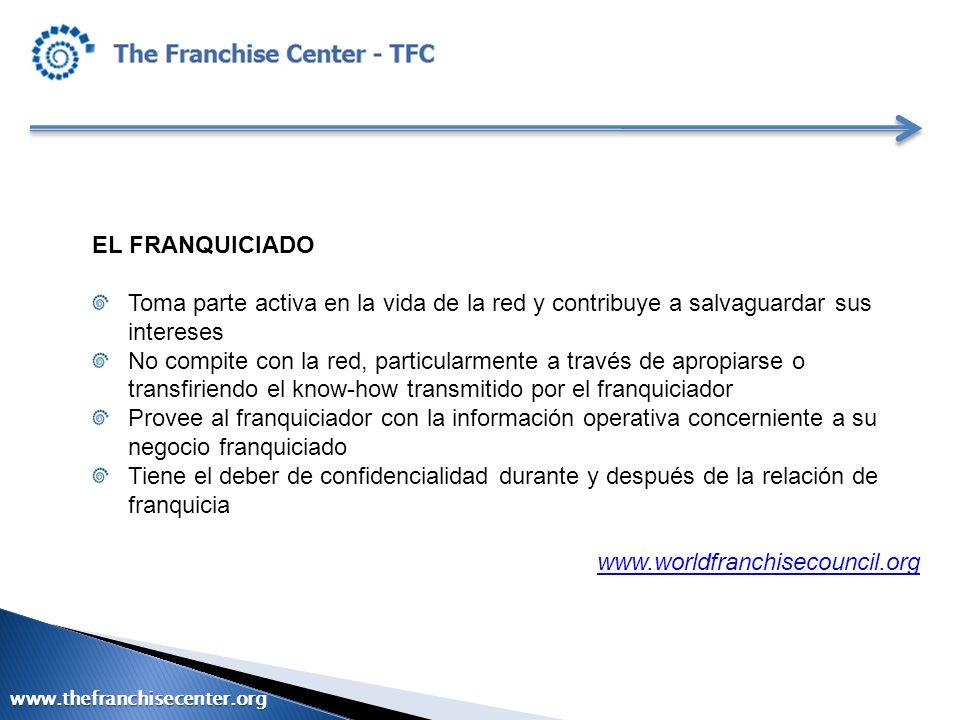 EL FRANQUICIADO Toma parte activa en la vida de la red y contribuye a salvaguardar sus intereses.