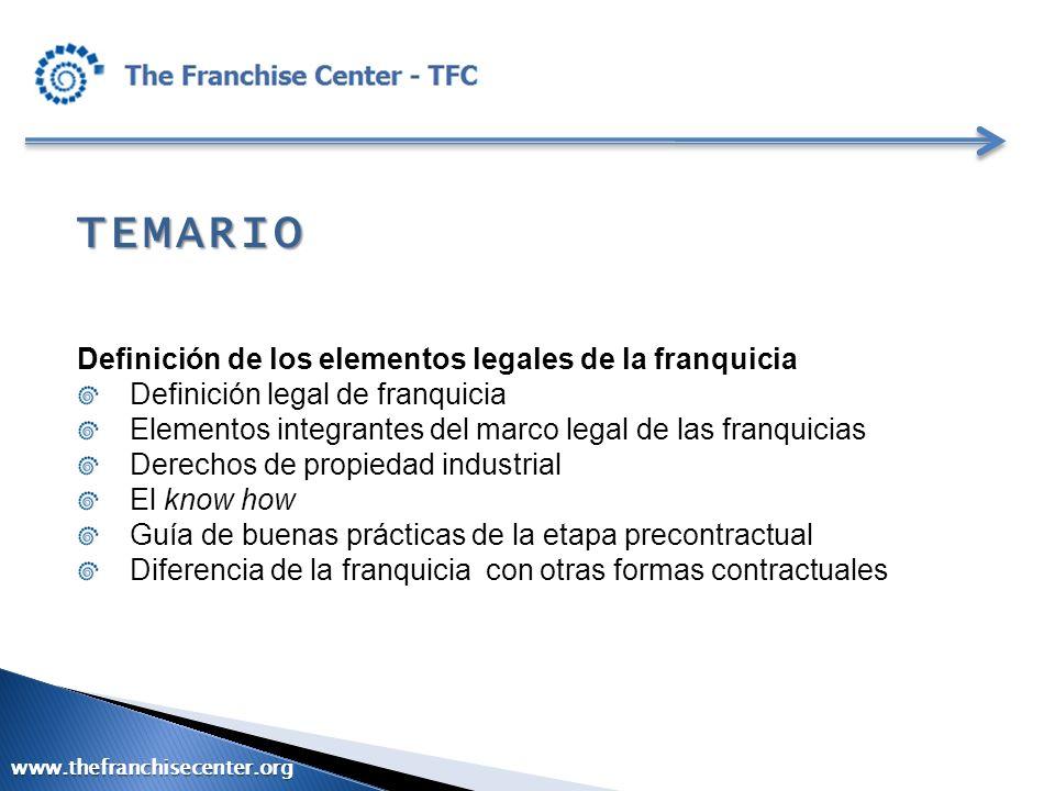 TEMARIO Definición de los elementos legales de la franquicia