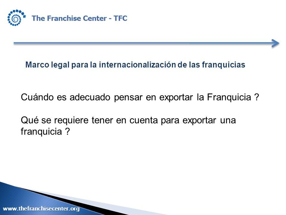 Cuándo es adecuado pensar en exportar la Franquicia