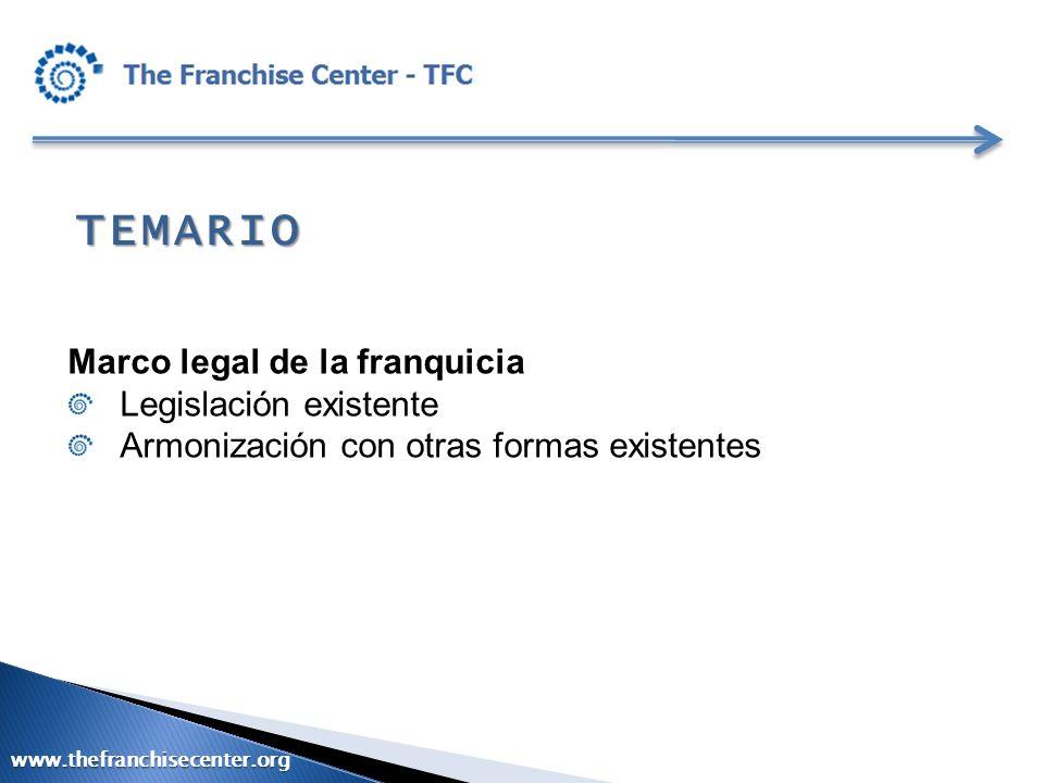 TEMARIO Marco legal de la franquicia Legislación existente