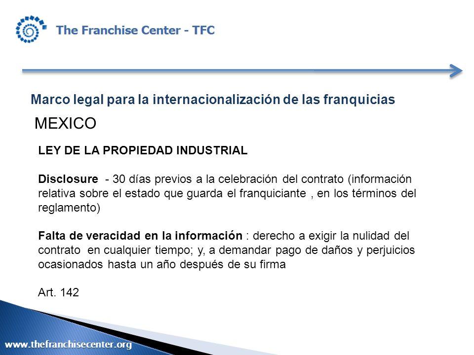 MEXICO Marco legal para la internacionalización de las franquicias