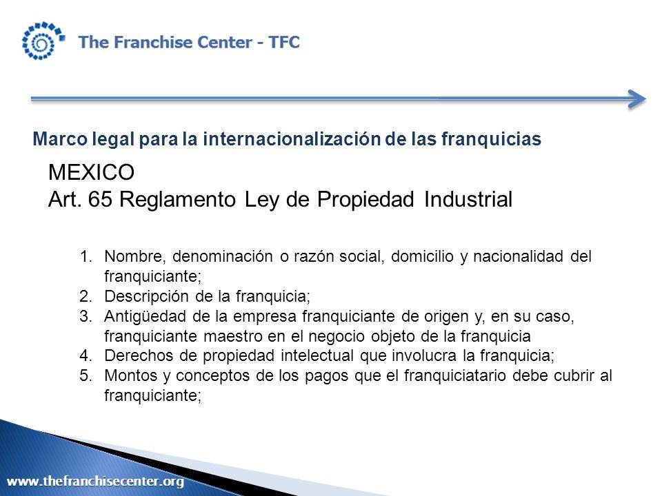 Art. 65 Reglamento Ley de Propiedad Industrial