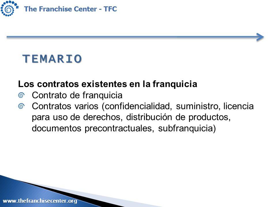 TEMARIO Los contratos existentes en la franquicia