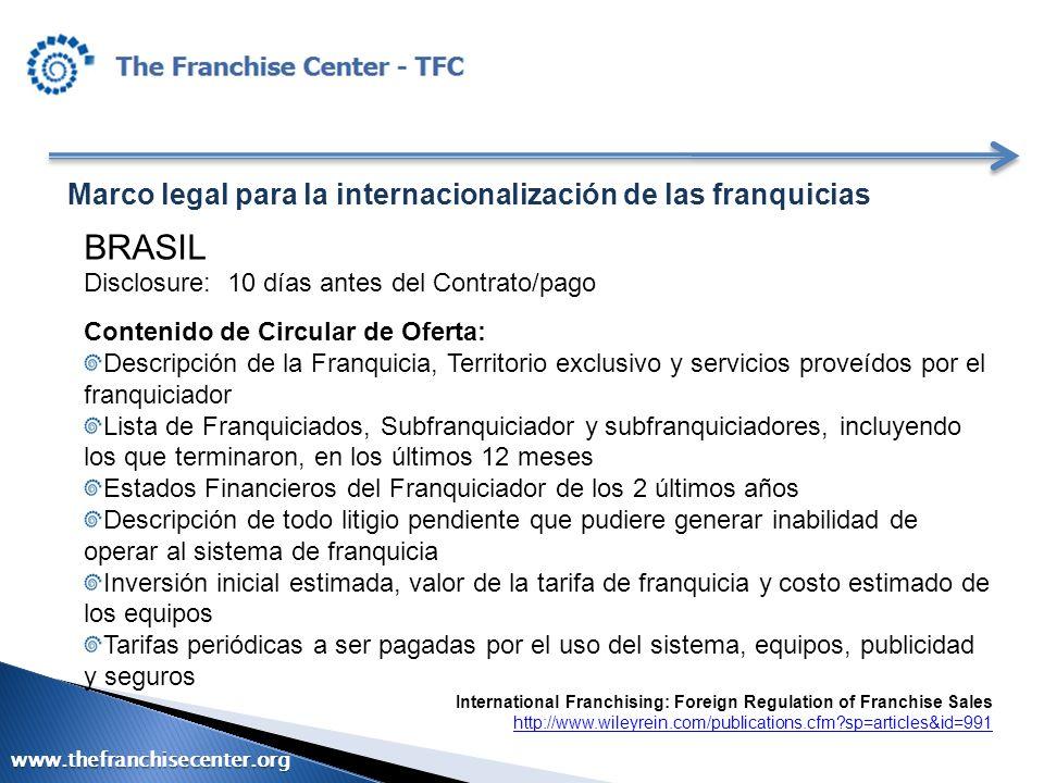 BRASIL Marco legal para la internacionalización de las franquicias