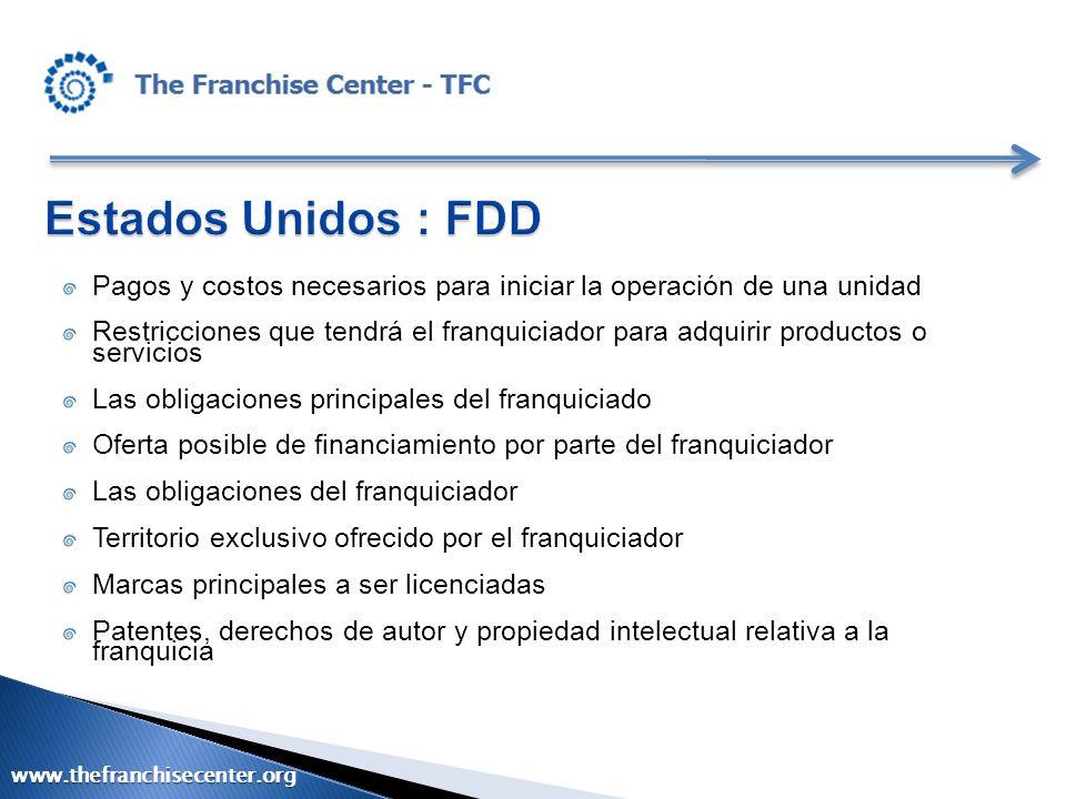 Estados Unidos : FDD Pagos y costos necesarios para iniciar la operación de una unidad.