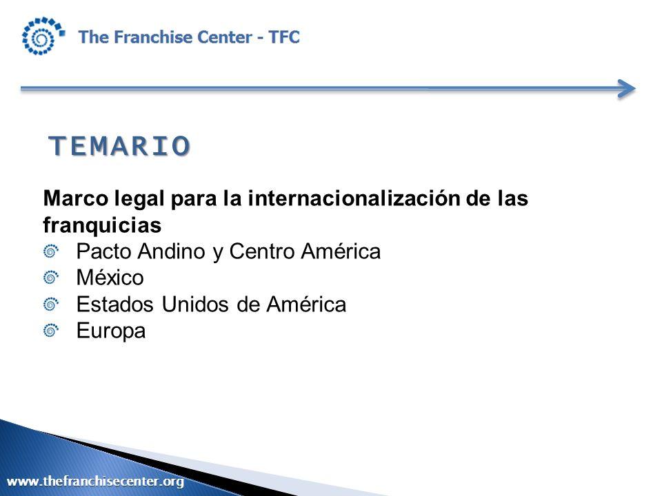 TEMARIO Marco legal para la internacionalización de las franquicias