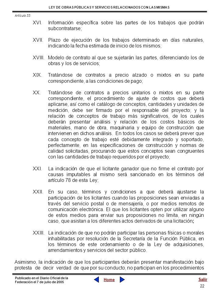 Artículo 33. Información específica sobre las partes de los trabajos que podrán subcontratarse;
